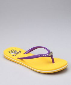 Take a look at this Yellow Louisiana State University Flip-Flop - Women by College Edition on #zulily today!