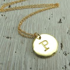Solid 14k  Gold Initial Necklace Letter by PointNoPointStudio, $195.00