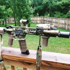 Custom AR15 w/cerakote Multicam #stipple
