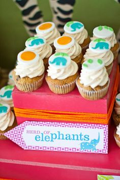 Elephant safari cupcakes by JennyWenny Cakes Dessert station by Sweets Indeed
