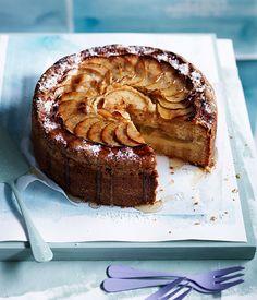 Australian Gourmet Traveller recipe for apple-vanilla teacake with thick vanilla custard.
