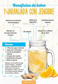 El jugo de naranja con jengibre es otra gran opción a la hora de reforzar la sa… Orange juice with ginger is another great option when it comes to strengthening health given the potential of its ingredients, which also make… Sigue leyendo → Healthy Juices, Healthy Smoothies, Healthy Drinks, Healthy Tips, Healthy Recipes, Healthy Water, Healthy Detox, Detox Juice Recipes, Detox Drinks
