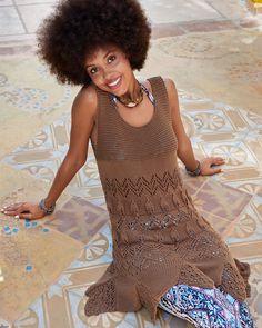 Ажурное платье-туника с юбкой годе