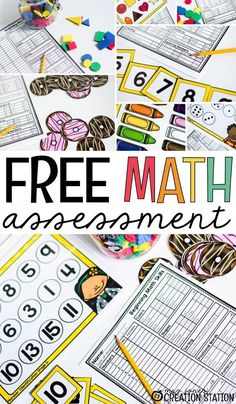 An awesome resource for teachers! Grab this preschool or kindergarten math assessment set to use during the first few weeks of school! Yeah...the first of the school year just got more manageable! #freeprintables #mathassessment #kindergartenlessons #preschool #Math #kindergarten #MrsJonesCreationStation