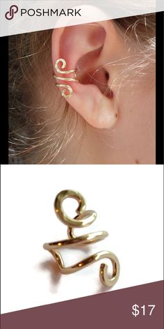 Gold/Rose gold spiral ear cuff earring A trendy 14k yellow or rose gold filled spiral clip on ear cuff earring. One size fits all. nejd Jewelry Earrings