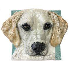 Labrador Retriever Yellow Ceramic dog tile bas-RELIEF EFFORT FOR MOM Alexander