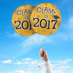 "Class of 2017 Graduation Foil 17"" Balloons, 2 Pack (Gold)-Distinctivs"