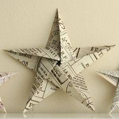 Fold it into a pentagon the origami way- then most of the folding is already done. 5 pointed origami star Christmas ornaments - step by step instructions Book Crafts, Christmas Projects, Holiday Crafts, Fun Crafts, Newspaper Crafts, Homemade Christmas Decorations, Diy Christmas Ornaments, Origami Christmas Tree, Christmas Paper Crafts