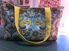 Purse made at a sewing class at Stitch Lab (Fabric: Birds & Bees Squirrel fabric by Tula Pink Free Spirit)