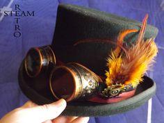 10% off sale16 steampunk hat - new VINTAGE Wool feathered Top Hat with goggles - steampunk top hat - steampunk top hat with goggles by SteamRetro on Etsy
