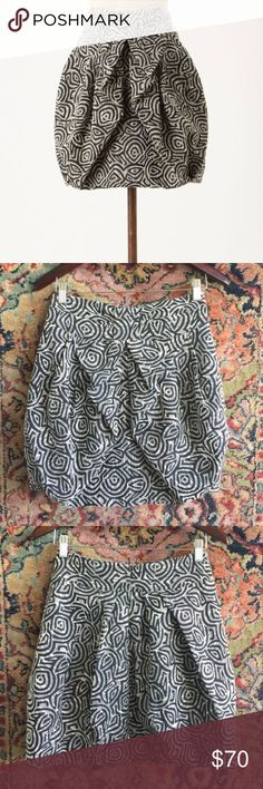 """Eva Franco Anthropologie Bubble Skirt Fully lined with zip closure. Pleated create volume. 13.5"""" waist and 18"""" L. Beautiful jacquard fabric. In excellent used condition with no issues Anthropologie Skirts Mini"""