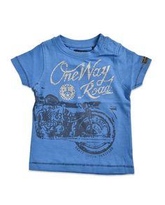Blue Seven T-shirt One Way Road Blue #shirt #jongen #stoer #motor #blauw #kids
