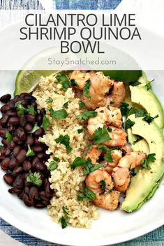 quinoa recipes Cilantro lime shrimp quinoa bowl with black beans and avocado is perfect for meal prep or weeknight dinners. This quick and easy recipe is healthy and loaded with immense flavor and tons of protein. Healthy Meal Prep, Healthy Cooking, Healthy Eating, Cooking Recipes, Easy Healthy Weeknight Dinners, Kid Recipes, Budget Recipes, Dinner Healthy, Quinoa Recipes Easy