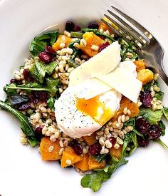 Butternut Squash and Barley Salad with Poached Egg by onekingslane #Savoru_Breakfast #Eggs #Butternut_Squash #Barley