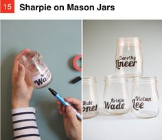 Sharpie on mason jars as a cool decorative feature.