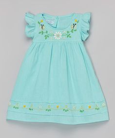 Love this Mint Margarita Daisy Embroidered Dress - Infant & Toddler by Little Cotton Dress on #zulily! #zulilyfinds
