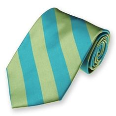 Turquoise and Clover Green Woven Striped Ties | SolidColorNeckTies.com $7.95
