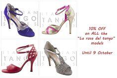 """SPECIAL DEAL! 10% OFF on ALL the """"La rosa del tango"""" models Until 9 October http://www.italiantangoshoes.com/shop/en/6_la-rosa-del-tango"""