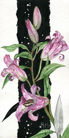 Flower Lily 01 Elena Yakubovich Painting  - Flower Lily 01 Elena Yakubovich Fine Art Print