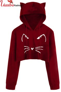 ZHI Cat Printed Hooded Overhead Casual Long Sleeve Sweatshirt can show the feminine elegance well, get best women Hoodies & Sweatshirts online. Girls Fashion Clothes, Teen Fashion Outfits, Outfits For Teens, Fall Fashion, Fashion Trends, Mode Kpop, Hooded Sweatshirts, Hoodies, Cute Casual Outfits