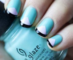 turquoise blue with white triangle and black funky french tips nails - easy nail art design