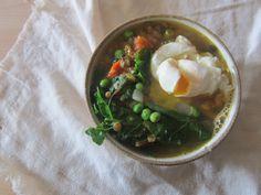 lentil soup with poached egg