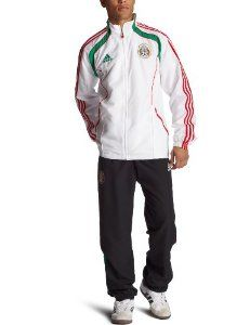 Mexico Soccer Presentation Suit by adidas. $99.99. 100 percent polyester pique. Machine wash. polyester. Made in China. Bottom leg zips. Drawcord adjustable hem. Ribbed cuffs and hem. Zip pockets. Fully mesh lined. Lifts fabric from the skin's surface, allowing air to circulate.