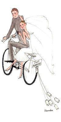 My Little Paris, Kanako illustration Wedding Illustration, Couple Illustration, Illustration Art, Wedding Images, Wedding Cards, My Little Paris, Chicken Painting, Bicycle Art, Couple Art