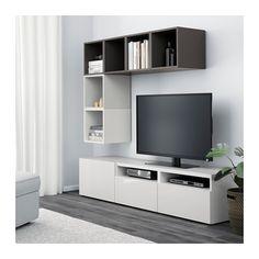 BESTÅ / EKET Kastencombinatie voor tv - wit/hoogglans/wit, laderail, zachtsluitend - IKEA