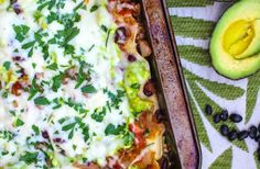 Avocado, tomatillo, tomato and black bean lasagna