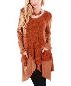 Another great find on #zulily! Copper Pouch-Pocket Handkerchief Tunic by Aster #zulilyfinds