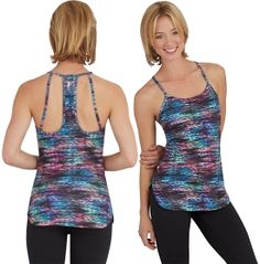 Bring some personality to the studio when you wear the STUDIO by Capezio® Women's Chamonix Printed Tank Top. This slim fit tank features a modified racerback for an athletic look and feel that lets you move with a full range of motion. Moisture-wicking fabric helps you stay dry and comfortable when you work up a sweat, while the multi-colored print adds fun style to your outfit. Perfect your next routine in the Chamonix Printed Tank Top.