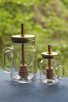1 Big Mug Mason Jar Honey Pot & 1 Mini by BondurantMountainArt