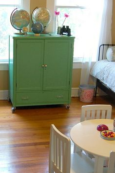 Maybe a bright color for the nightstand in the loft.