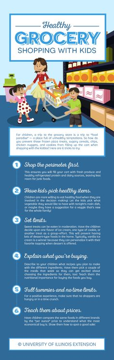 """Great tips and tricks! """"Healthy Grocery Shopping With Kids"""" Infographic"""