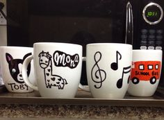 DIY Sharpie Coffee mugs. I made these last night. Great Christmas gift ideas :] 400 degrees for 40 minutes, let it cool in the oven for 24 hours for best results!!