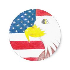 Eagle and American Flag Stickers