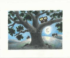 Night Owls Illustration. A wonderful illustration for anyone who loves owls.