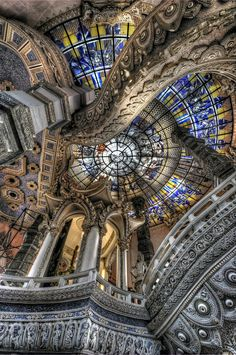 Ceiling of the uber-trippy Erawan Museum in Samut Prakan province, Thailand.  Wow.