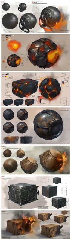 #材质# #材质表现# 来自新加坡的概念插画师... 来自绘画学院 - 微博