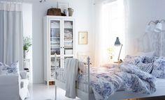 Short of space? Store linen and towels in a glass door cupboard in the bedroom.