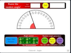 Online interactive protractor. Can be used to estimate angles and for demonstration. This link also goes to an interactive calculator, a lesson on using calculators, a fraction machine for making equivalent fractions, sticky numbers, guess the number, a teacher's toolkit, and hundred squares.