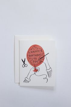 Happy birthday balloon greeting card hand-drawn and printed in Portland, Oregon, USA by Quill & Fox.