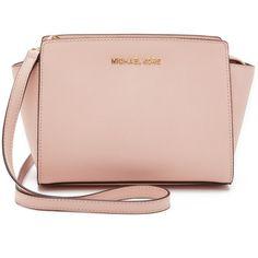 MICHAEL Michael Kors Selma Medium Messenger Bag ($250) ❤ liked on Polyvore featuring bags, ballet, leather bags, messenger bag, satchel bag, pink bag and ballet bag