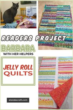 Our Readers Projects are these lovely Jelly Roll quilts from Barbara and her crew ! She made these from our free tutorial on how to make a Jelly Roll quilt. An easy quilting project Quilting For Beginners, Quilting Tutorials, Quilting Projects, Quilting Designs, Sewing Tutorials, Diy And Crafts Sewing, Easy Sewing Projects, Sewing Projects For Beginners, Sewing Hacks