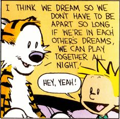 "Calvin and Hobbes QUOTE OF THE DAY (DA): ""I think we dream so we don't have to be apart so long. If we're in each other's dreams, we can play together all night!"" -- Bill Watterson Calvin Und Hobbes, Calvin And Hobbes Quotes, Calvin And Hobbes Comics, Hobbs, Life Lessons, Hobbes And Bacon, John Calvin, Fun Comics, Charlie Brown"