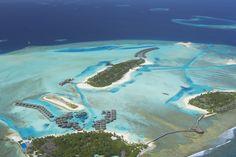 Aerial view of Anantara Veli, Dhigu and Naladhu. Best tropical holiday destinations.