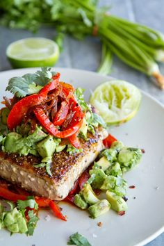 Mexican Tuna Steak with Sweet Red Peppers and Avocado Salsa #lowcarb #paleo #healthy