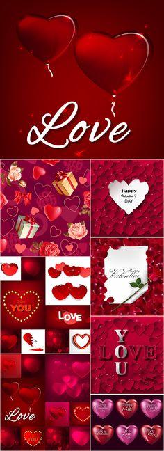 Блог Колибри: Valentine's Day set, vector backgrounds (2)