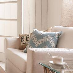Agota Pillow Living Room Beach house Blue Pillow Linen sofa beige pillow